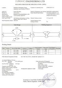 Dokumentácia pre zváranie WPS  - Welding Procedure Specification